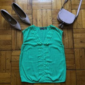 New York And Company | Green Polka Dot Ruffle Top